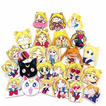 1PCS Sailor Moon Luna Artemis cat Cartoon Girls Icon Badges diy on Backpack Brooches Pins Clothes Acrylic plastics badges(China)