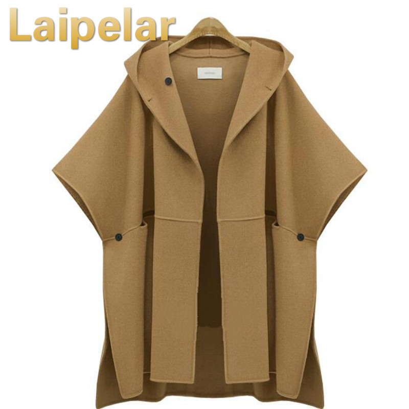 2018 Elegant Winter woolen cape coat women's cloak camel wool jackets casual split streetwear hooded luxury cloak overcoat