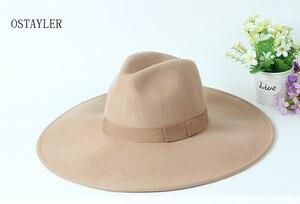 Image 5 - Chapéu tipo fedora, chapéu super grande, aba longa, preto, cáqui, feminino, laço, jazz, lã australiana, casual, para inverno sombrero