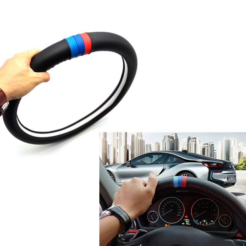 38cm Car Accessories Steering Wheel Cover Sticker For BMW E46 E39 E38 E90 E60 E36 F30 F30 E34 F10 F20 E92 E38 E91 E53 E70 X3 X5