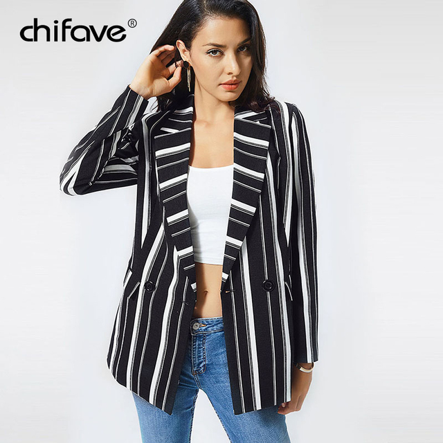 chifave Blazer Women 2018 Striped Jackets Casual Double Breasted Black Long Blazer Women's Spring Autumn Jacket Plus Sizes 5XL