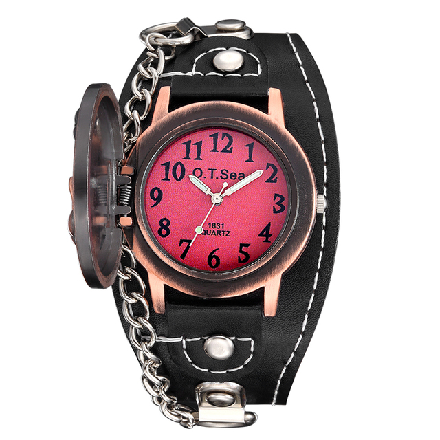 SKULL LEATHER WRISTWATCHES (2 VARIAN)