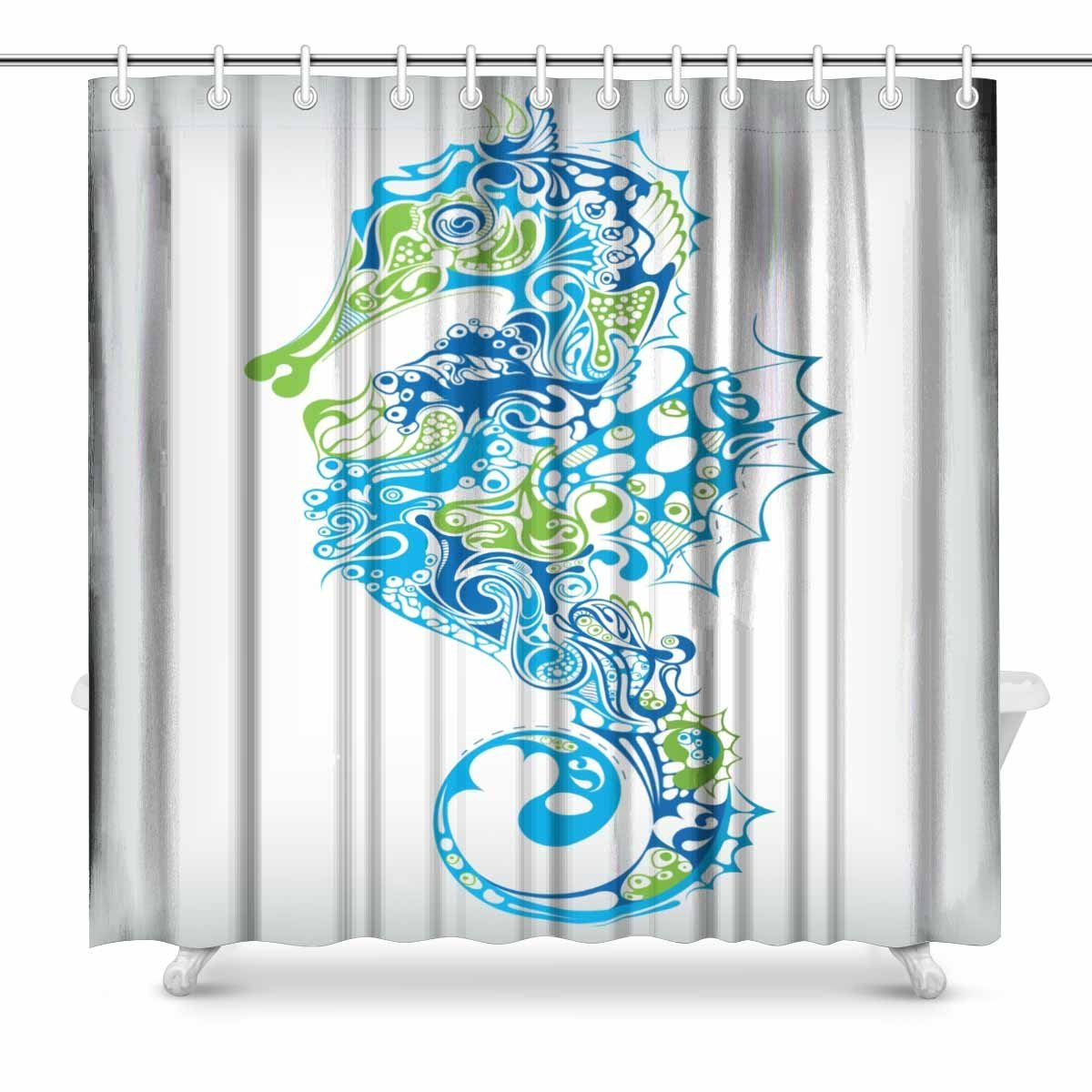 Aplysia Seahorse Bathroom Decor Shower Curtain Set With Hooks 72 Inches Long In Curtains From Home Garden On Aliexpress