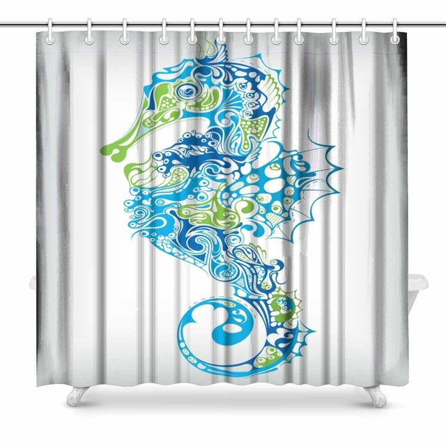 Aplysia Seahorse Bathroom Decor Shower Curtain Set With Hooks 72 Inches Long