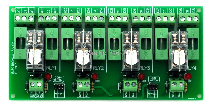 Fused 4 DPDT 5A Power Relay Interface Module, G2R-2 24V DC Relay.