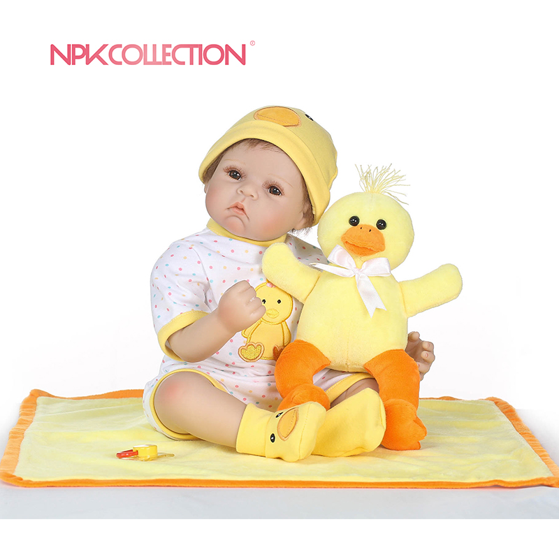 NPKCOLLECTION Reborn Baby Doll Realistic Soft Silicone Reborn Babies Girl 18 Inch Adorable Bebe Kids Brinquedos boneca Toy