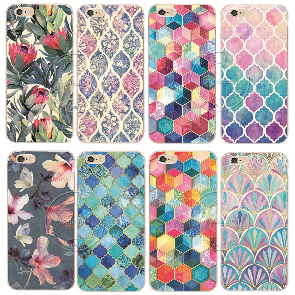 2015 New Fashion Arrival 21 Styles Flowers Painted Plastic Hard Back Case Cover For Apple iPhone 6 6S 4.7″