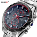 Wholesale 50pcs/Lot Popular Popular Brand Longbo Stainless Steel Analog Whatch Men Quartz Clocks Business Male Luminous Watches
