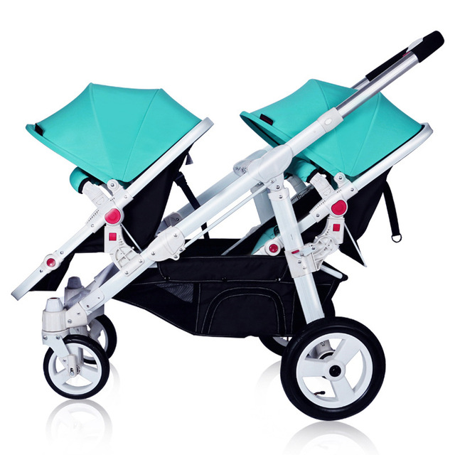 Doble Carro de Bebé Delantero Trasero Puede Estar Mintiendo Plana Plegable Portátil de Dos vías Carretilla Desmontable Separable Amortiguador Ajustable