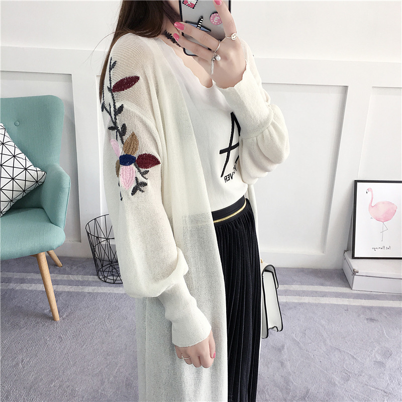 Spring Long Cardigan Women 2017 Fashion Thin Flower Womens ...
