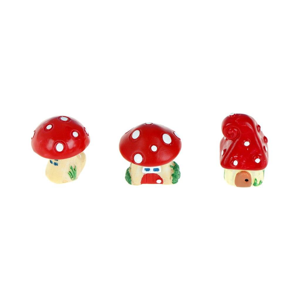 NEW Red Mushroom House DIY Resin Fairy Garden Craft Decoration Miniature Micro Gnome Terrarium Gift 3.5*1.5cm Wholesale