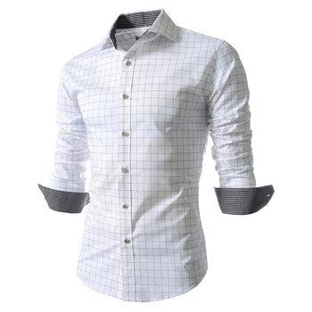 Dress Shirt Men Slim Fit Style Boys Casu...