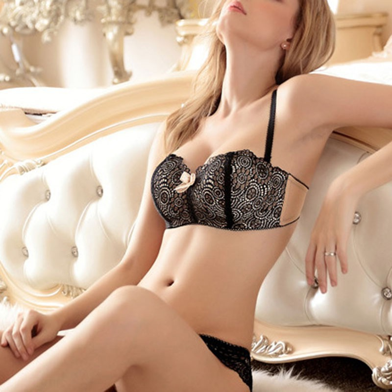 2017 Sexy Women's Adjustable Lace Bra Sets Wire Free Push-up Padded Lingerie Underwear Black/White/Pink