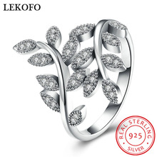 LEKOFO Fashion 100% 925 Sterling Silver Ring Olive Leaf Design Gift Ring For Women Fine Sterling-silver-jewelry Size 6 7 8