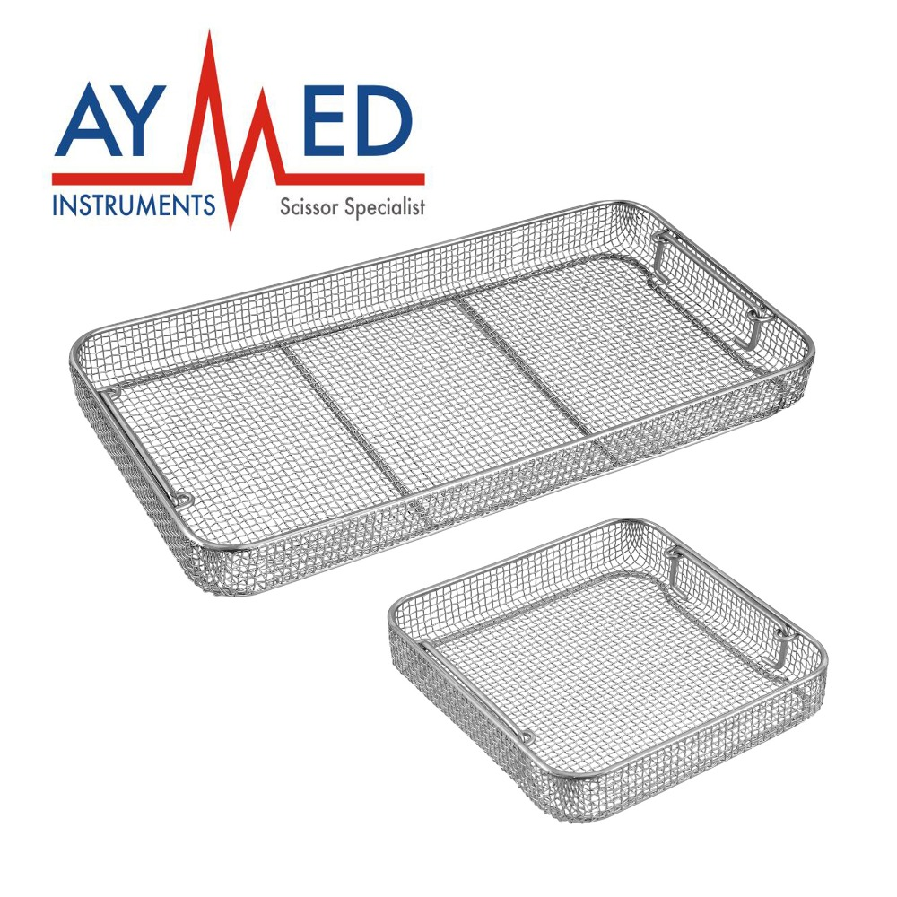 2 Wire Mesh Sterilization Baskets trays drop handles for surgical ...