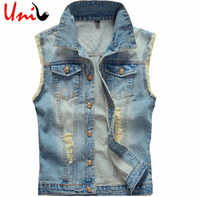 Plus Size Men's Denim Vest Men Sleeveless Jacket Cowboy 2016 Brand New 5XL 6XL Washed Jeans Casual Tank Top  Man Waistcoat YN748