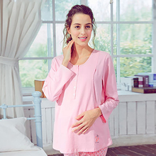 Cotton Maternity Sleepwear Nursing For Pregnant Women Shirt Feeding Casual Cute Cotton Pregnant Clothes Autumn Winter 70M0148