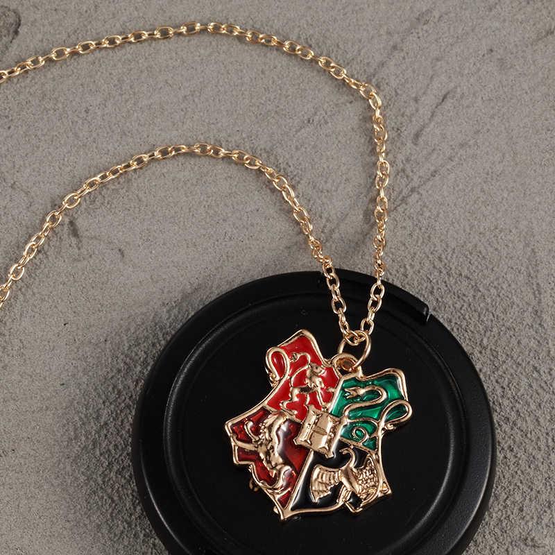 ZRM 20 sztuk/partia hurtownie moda złoty urok Potter hogwart szkoła naszyjnik mężczyzn biżuteria, oryginalne fabryczne dostawy