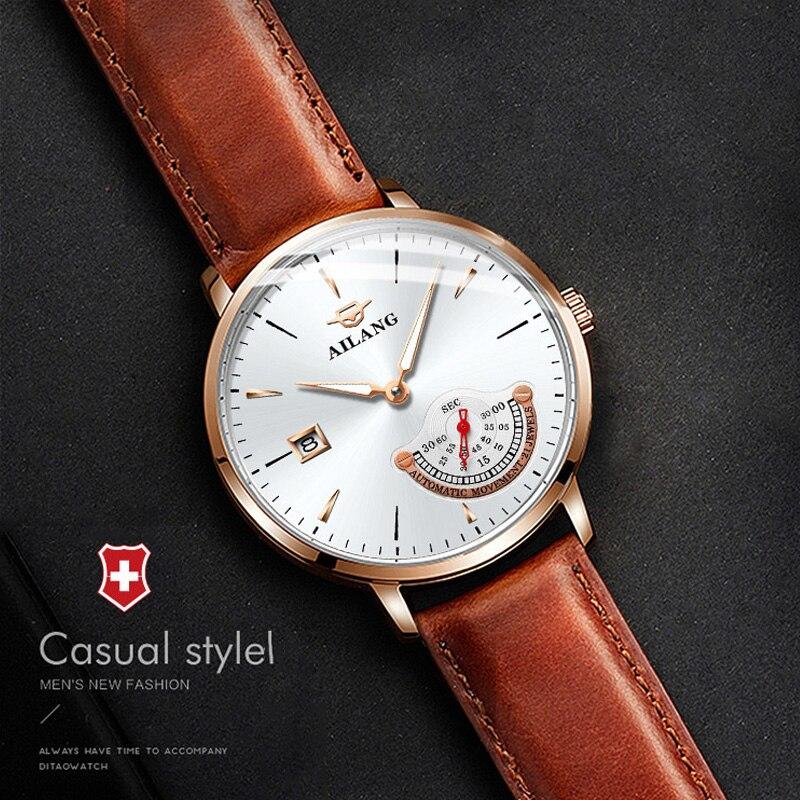 a23ae8b2e7e Wirst relógio AILANG Original top marca de luxo relógios automáticos dos  homens do design simples minimalismo mecânico starking relógio masculino