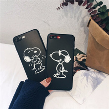 hot deal buy cartoon snoopys dog phone case for coque iphone 7 7 puls 6s 7 8 plus couple case silicon for iphone cover x xs max xr back cover