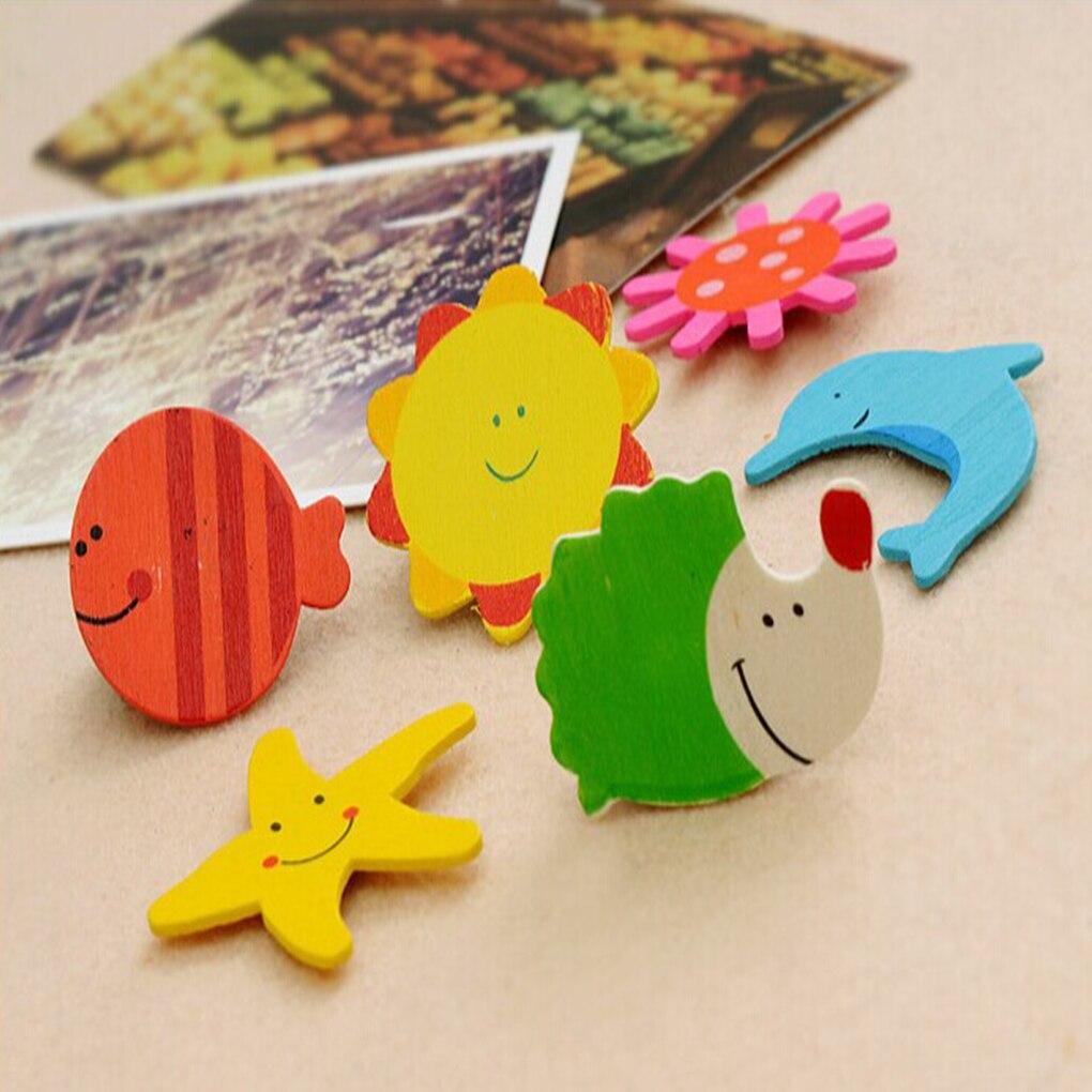 12 шт. Развивающие деревянные игрушки Подарок для маленьких детей мультфильм смешной деревянный Кухня магнит на холодильник Стикеры Образо...