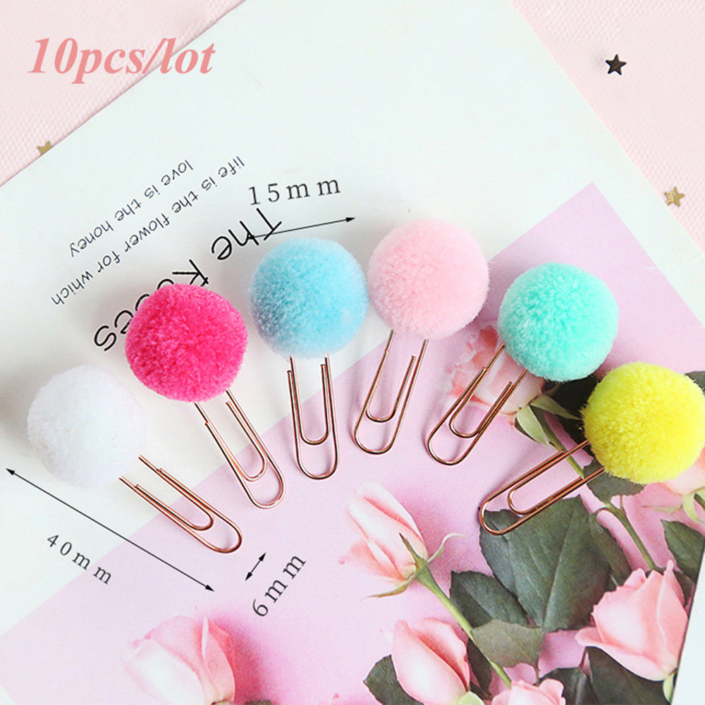 10pcs/lot Cute Plush Ball Paper Clips Metal Bookmark Binder Clips Planner Clip