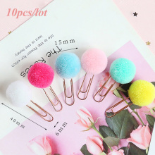 10pcs/lot Cute Plush Ball Paper Clips Metal Bookmark Binder Planner Clip