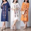 O envio gratuito de venda quente das mulheres do vintage mexican étnico bordado floral blusa longa dress vestidos casual chic