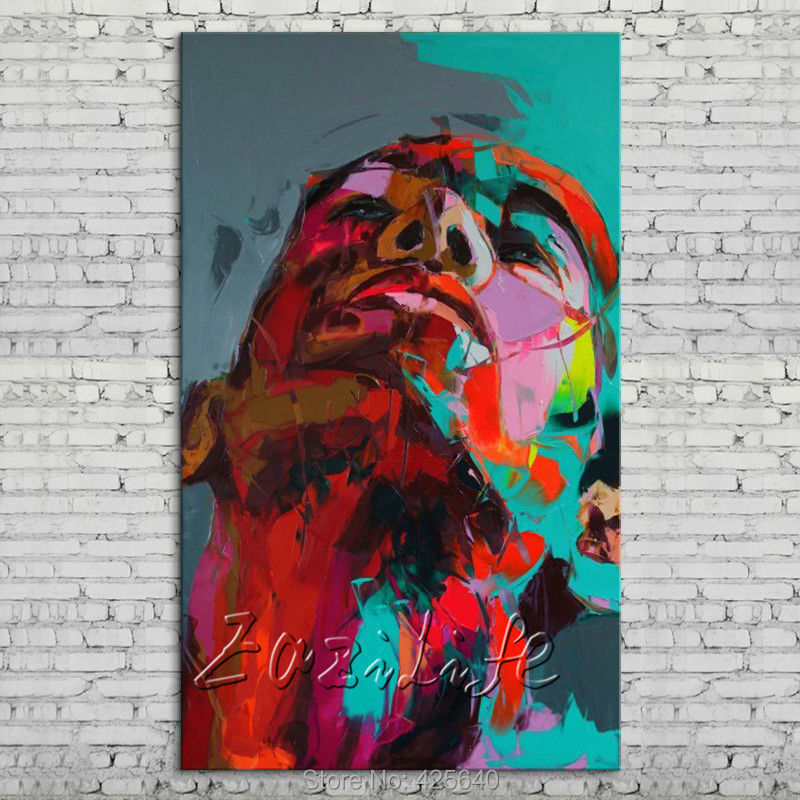 Palette font b knife b font portrait Face Oil painting Character figure canvas Hand painted Francoise