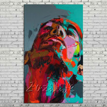 Palette knife portrait Face Oil painting Character figure canvas Hand painted Francoise Nielly wall Art picture 77