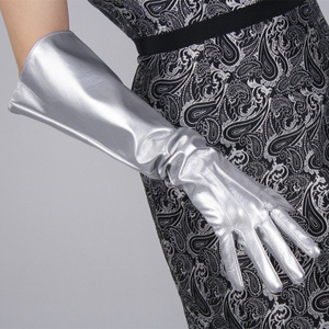Image 5 - Модные женские длинные перчатки, широкие манжеты, искусственная кожа, три бруска, белые, черные, 50 см, унисекс, T78
