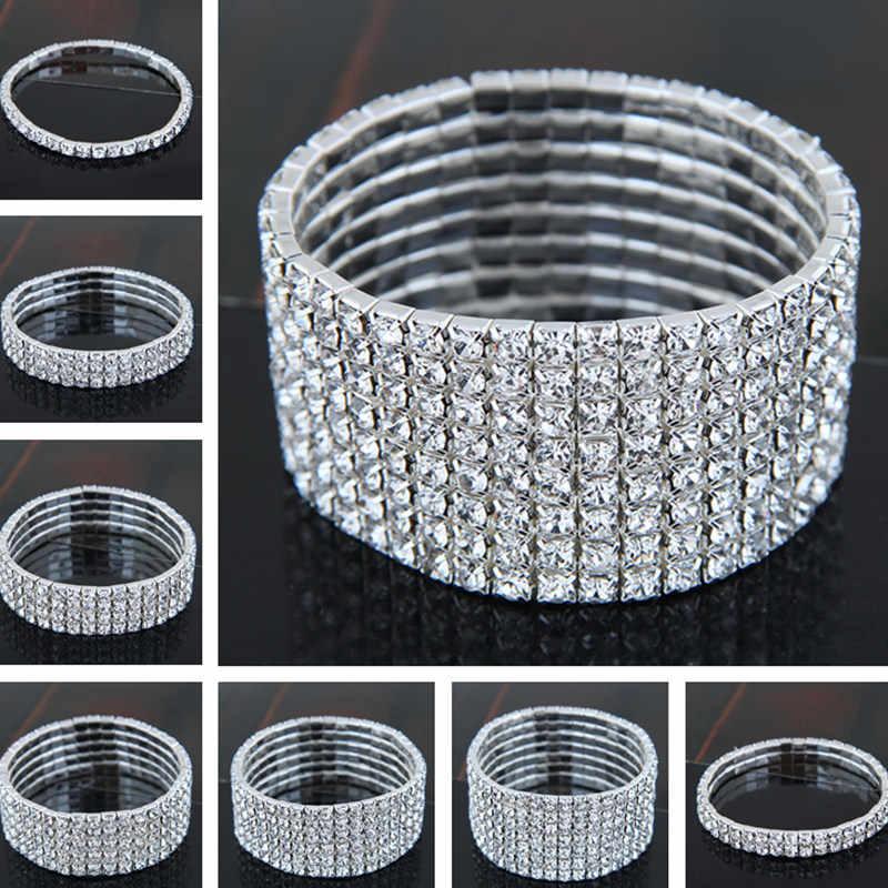 Pulseras elásticas de cristal multicapa para mujer chica novia brillante Color plata joyería mejor novia regalo fiesta boda