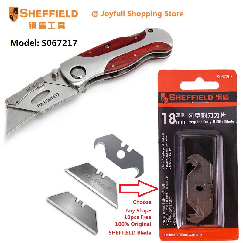 SHEFFIELD Utility Folding Knife Double Color Handle Heavy Duty Blade Knife Porcket Knife for Paper Leather Cutter with 10 blades