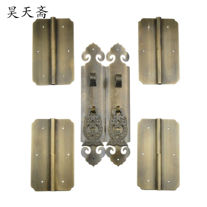 [Haotian vegetarian] Chinese shoe bookcase cabinet door handle handle kit wishful Chinese antique models european modern bronze doors handle chinese antique glass door handle door handle carving