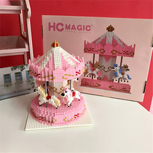 Young girl series carousel block new 2019 pink color mini building toy over 12 age play