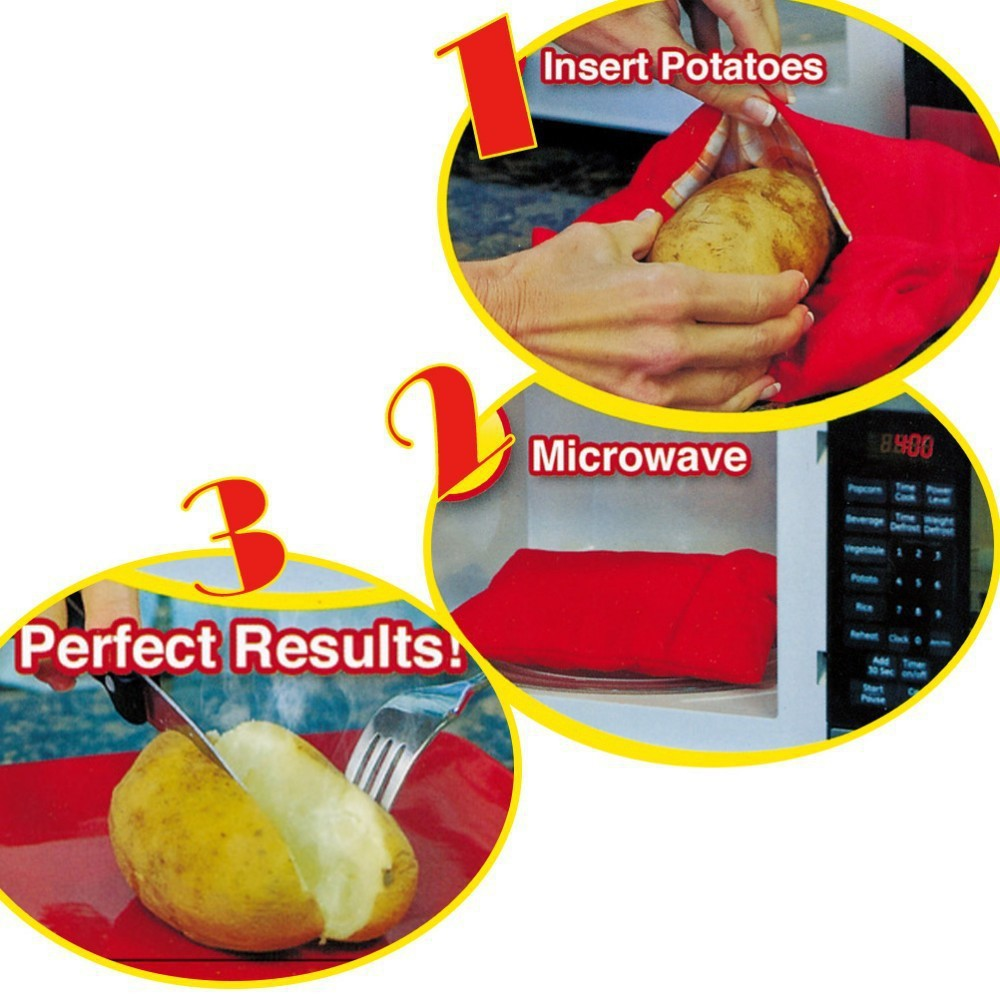 1pc New Red Washable Cooker Bag Baked Potato Microwave Cooking Quick Fast Cooks 4 Potatoes At Once Kitchen Accessories In Vegetable Brushes From