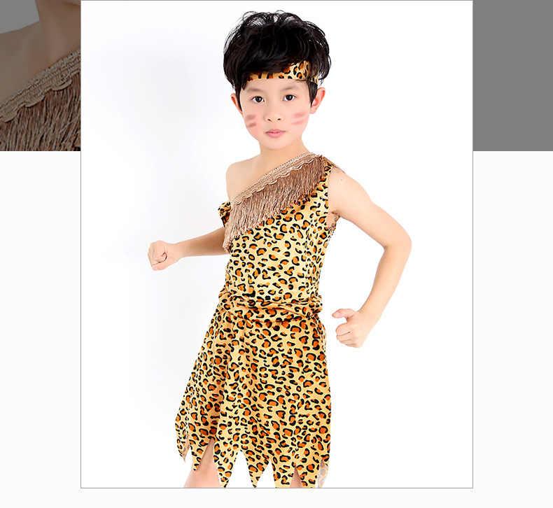ผู้ใหญ่เด็ก Savages ชุดแอฟริกาเผ่า Hunter เครื่องแต่งกายเต้นรำอินเดียเสือดาวพิมพ์เสื้อผ้าเด็กวัยหัดเดินการ์ตูนสัตว์สวมใส่