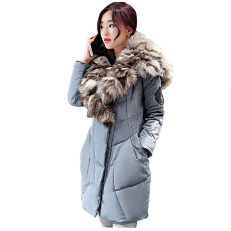 Korean Style Hot 2017 New Fashion Women's Winter Warm Coat Parkas 80% White Duck With Luxurious Large Real Fox Fur Down Jackets