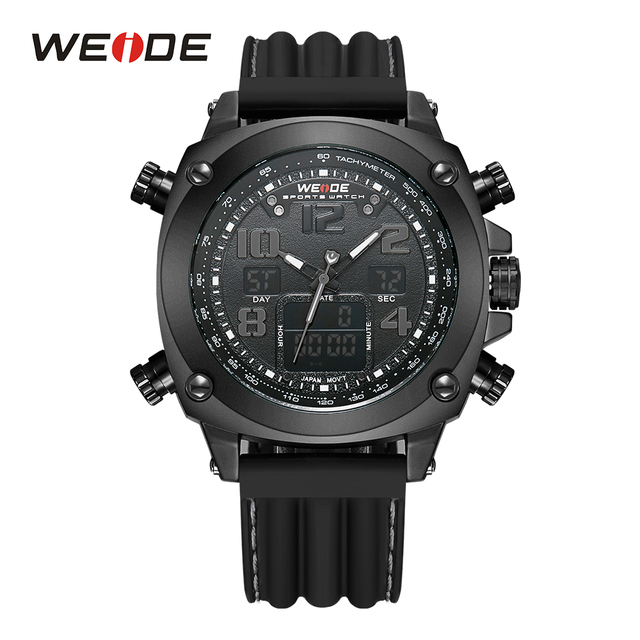 WEIDE Men's Sports Date Stopwatch Watches Analog Display LCD Digital Japan Quartz Movement Silicone Strap Buckle Male Wristwatch