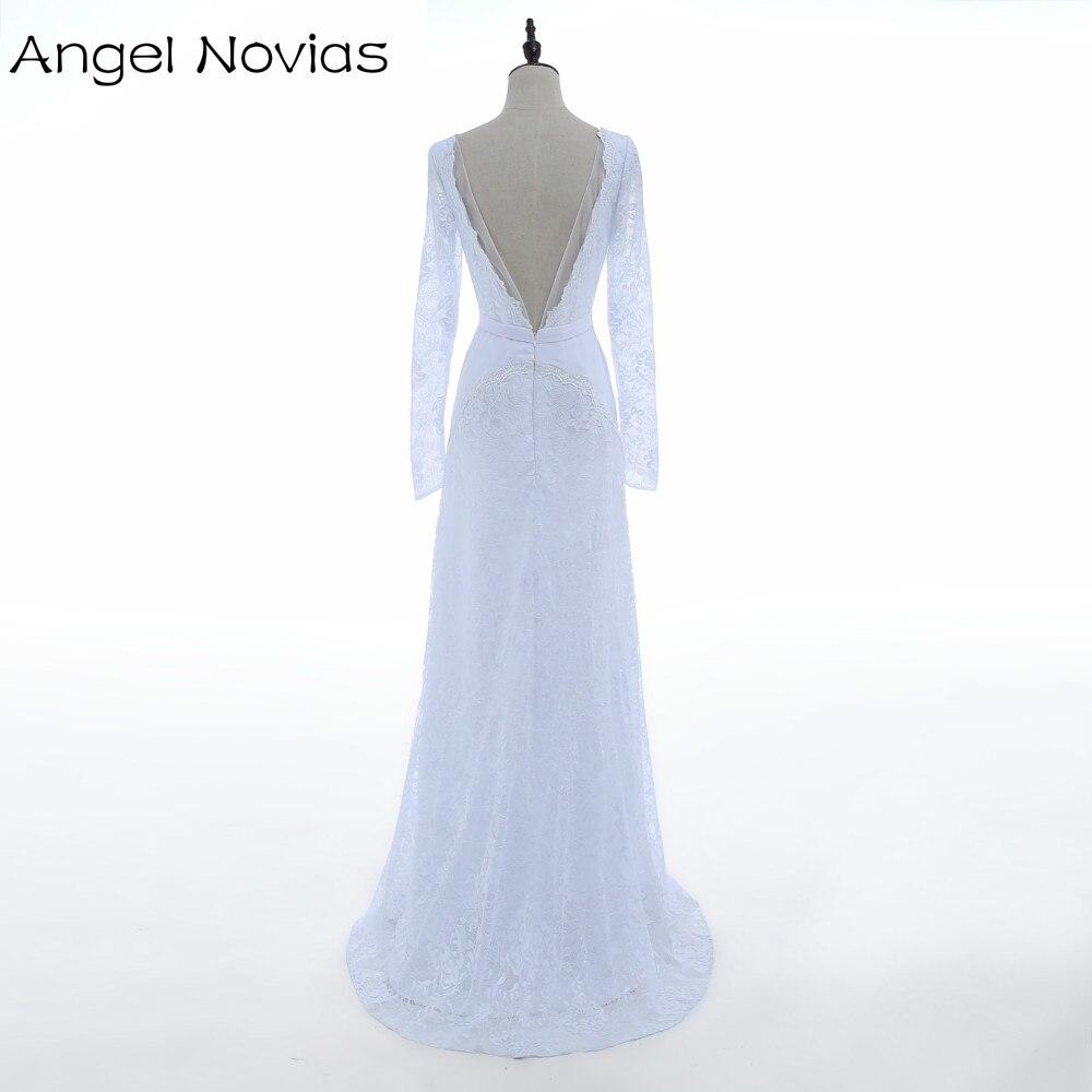 Engel Novias Echt Weiß Spitze Boho Einfache Langarm hochzeitskleid ...
