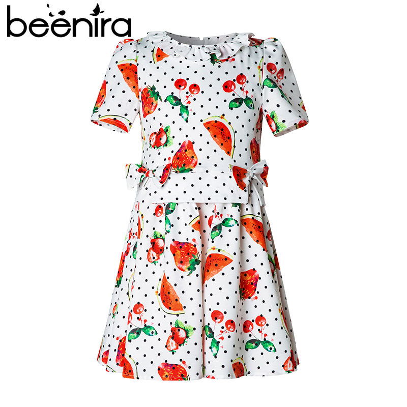 Beenira Princess Girl Dress 2017 Brand New Watermelon Fruit Printed Kids Dress Girl Clothes European and American Style 4-14Y 100% real photo brand kids red heart sleeve dress american and european style hollow girls clothes baby girl clothes
