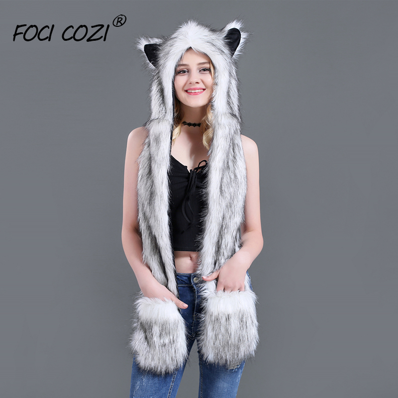 2019 Trending Unisex Hat Scarf Gloves 3 In 1 Function Winter Hoodie Warmer Cap White Fox Faux Fur Animal Hoods Paws Ears Mittens