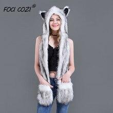 2019 Trending Unisex Hat Scarf Gloves 3 In 1 Function Winter Hoodie Warmer Cap White Fox Faux Fur Animal Hoods Paws Ears Mittens