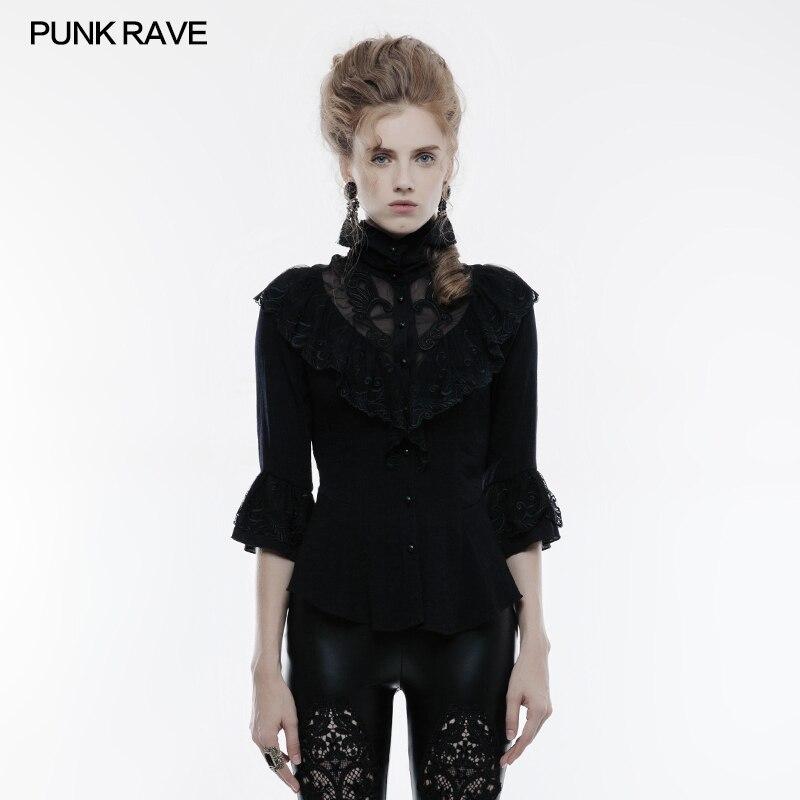 PUNK RAVE femmes Steampunk vintage t-shirt gothique mode victorien trois quart manches chemise Kera mode hauts fête chemise
