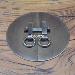 Diâmetro 12 15 18 cm chinês retro latão pull lidar com bloqueio anel roupeiro armário de bronze botões da cozinha trava maçaneta da porta