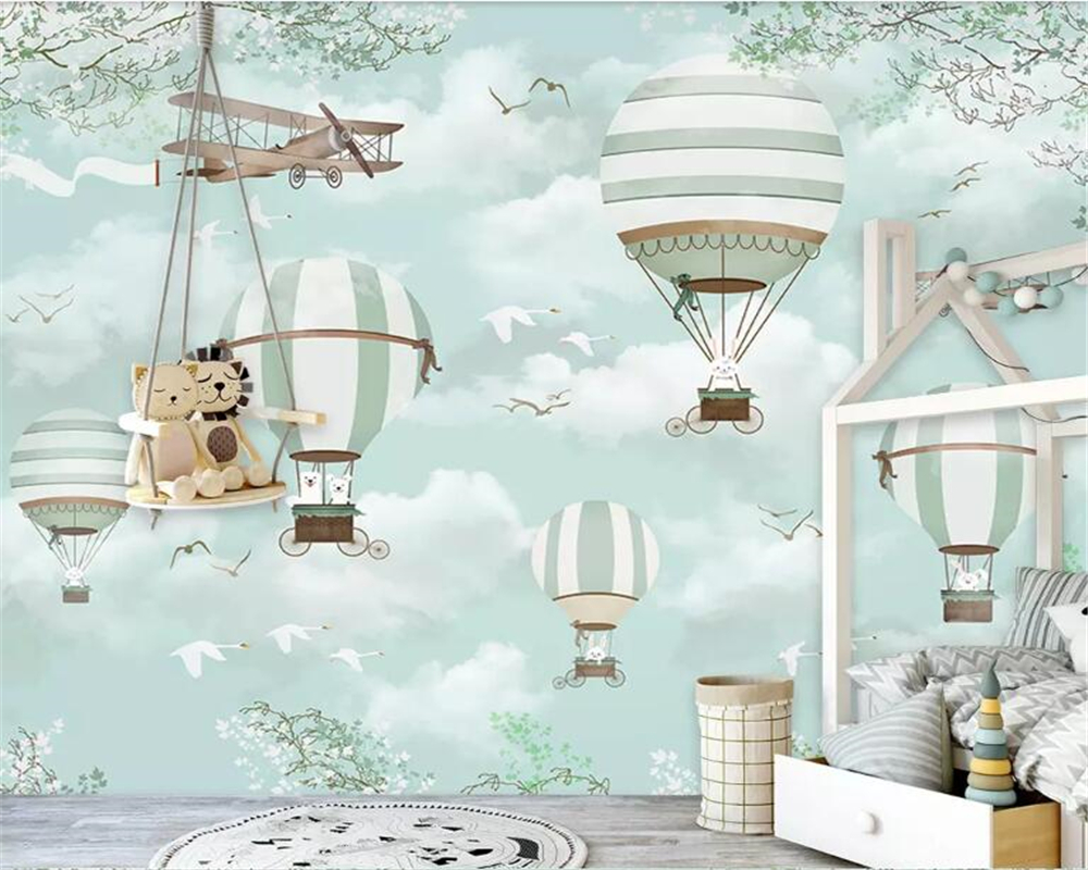 Beibehang Customized Child Room Background Wall 3d Wallpaper Blue Sky White Clouds Hot Air Balloon Plane Animal Puppy Wallpaper