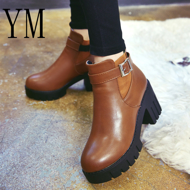 2019 New Square Heel Boots Women Autumn Winter Fashion Ankle Boots