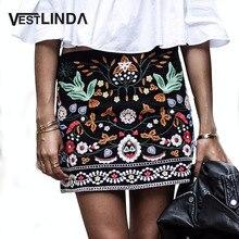 VESTLINDA Vintage Floral Embroidery Women Skirt Casual Summer High Waist Pencil Short Skirt Black Female Bohemian Mini Skirts