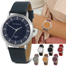 ECONOMICXI Sleek Minimalist Dial Round Belt Women's Watch Jewelry
