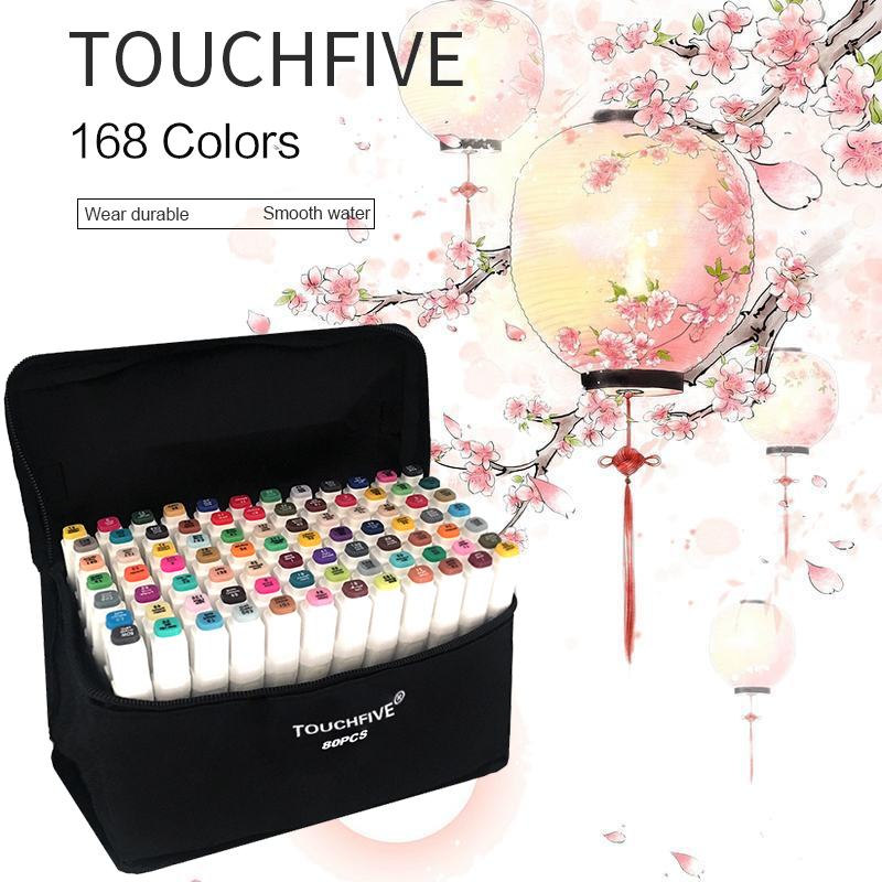 Touchfive 30/40/60/80 Color Manga Art Markers Sketch Markers Alcohol Based Painting Art Stationery Supplies touchnew 60 colors artist dual head sketch markers for manga marker school drawing marker pen design supplies 5type
